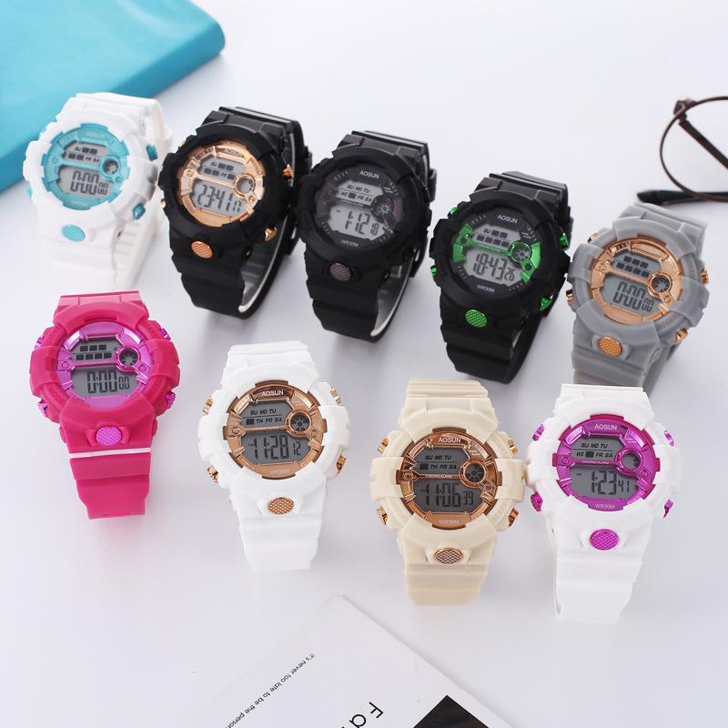 Mode passende Farbe elektrische vergoldete Freizeituhren Männer und Frauen neue Trend Multifunktionale wasserdichte leuchtende elektronische Uhren