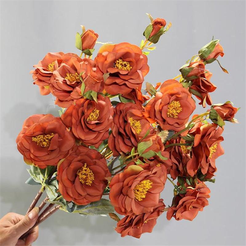 """Falso largo tallo feliz Rose (7 cabezas / pieza) 29.53 """"Longitud Simulación Pintura al óleo Rosas para flores artificiales decorativas para el hogar"""