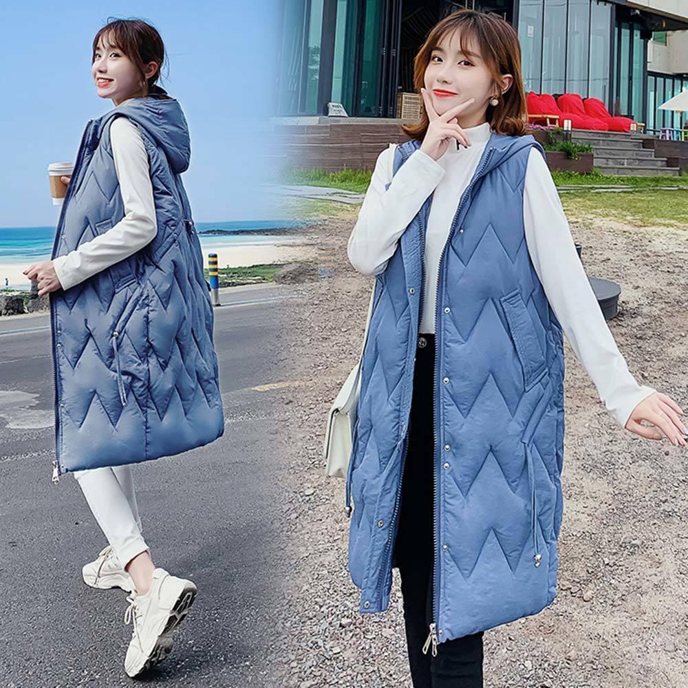 Vielleicht Winter Women Vest Casual Long Hooded Waistcoat Zipper Pocket Thicken Warm Sleeveless Sintepon Parka Vest For Female 201016