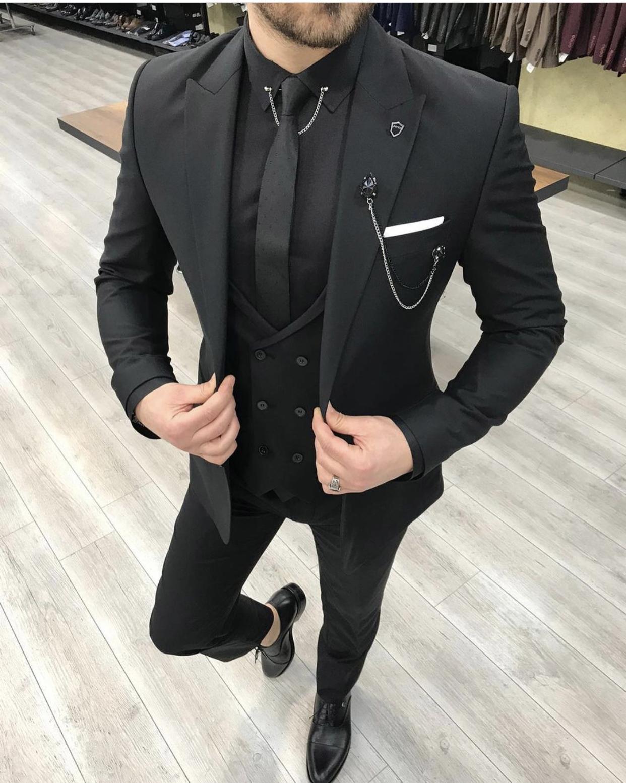 2021 New Groom Wear Men's Suits Slim Fit Peaked Lapel One Button Wedding Tuxedos Prom Best Man Blazer ( Jacket+Pants+Vest) 780