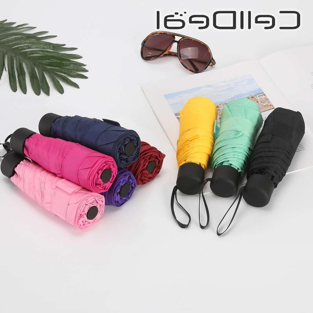 Piccola pioggia pieghevole 5 piega Donne Protable Mini NTI-UV Impermeabile Ombrello da viaggio Tascabile Pocket Parasol