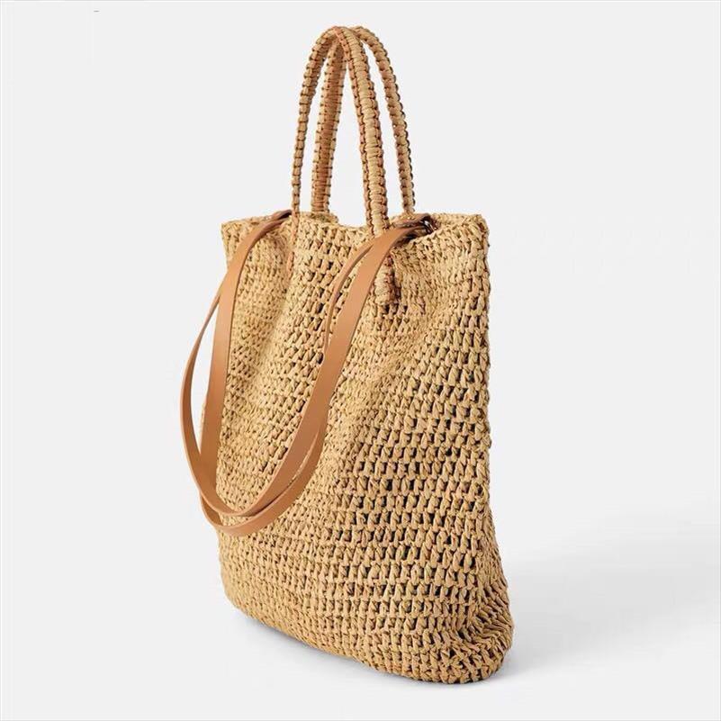 Dokuma Hollow Kağıdın hasır çanta omuz çantası kadın plaj çantası, kız moda seyahat kadınlar rahat torbaları