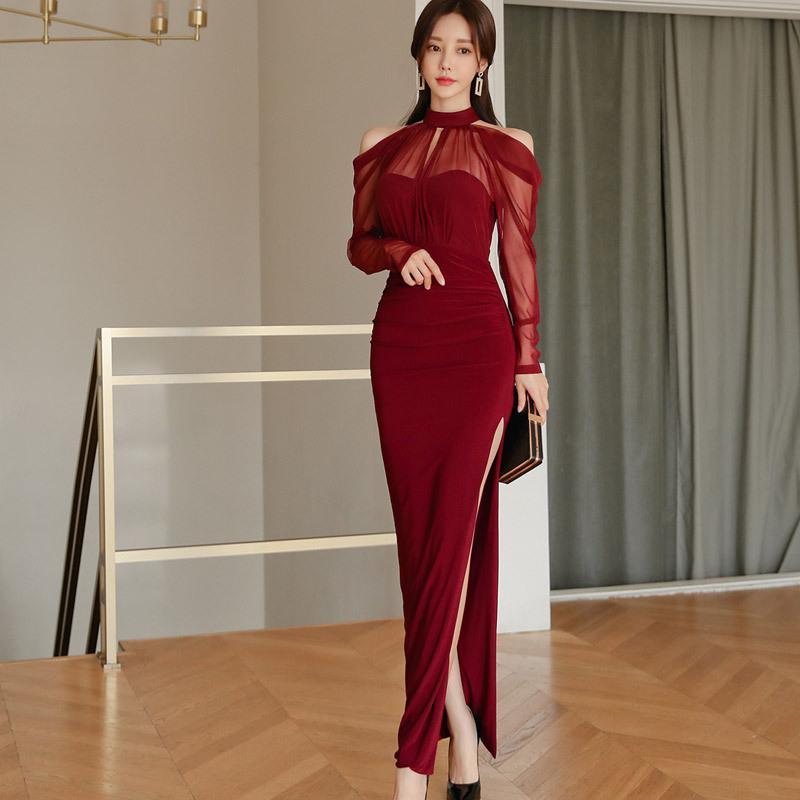 2020 Мода Бархатная бретелек дамы летнее платье Элегантный Sexy Разделить с длинным рукавом красный Платья женские Dinner Банкетный Стройный платья