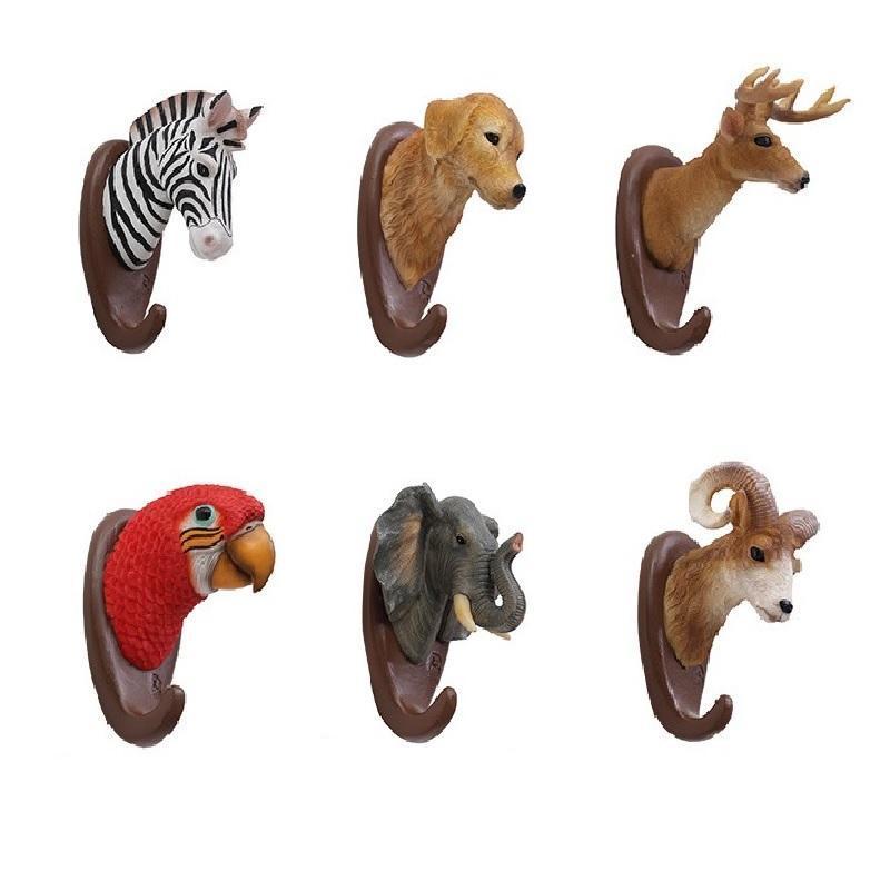 Крючки рельсы творческие животные головы крюк многоцелевой стены кошелек ключа держатель кухня ванной вешалка дома декоративный