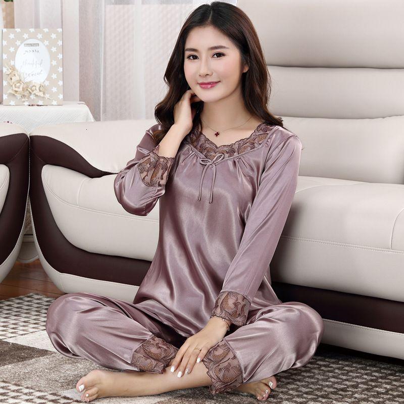 Como pijamas de manga longa terno primavera e outono novo gelo fino de seda grande tamanho de laranja mulheres desgaste feminino pijama