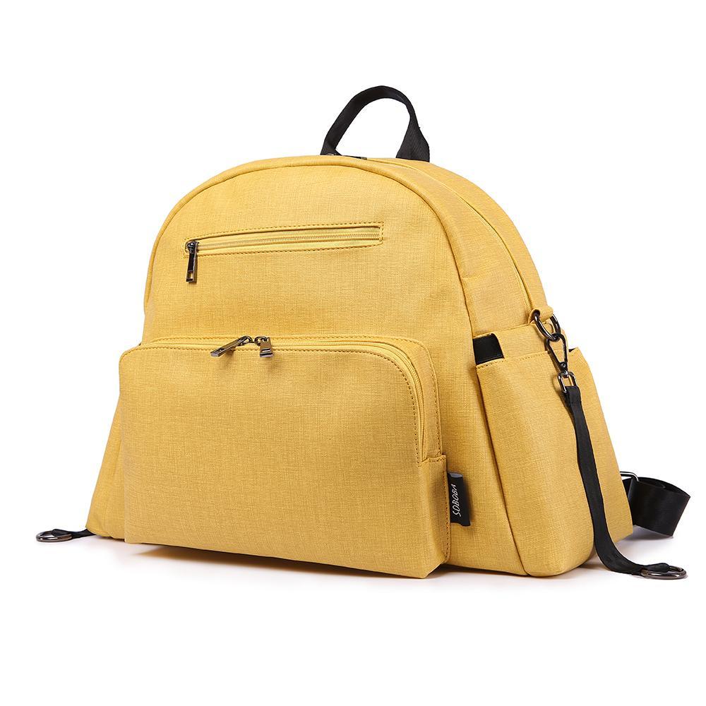 Elegante Multi-função Mãe Fralta Fralda Saco Amarelo PU Pessoas Impermeável Saco Com 2 Correias Grande Capacidade Moda Maternidade Bags 201120