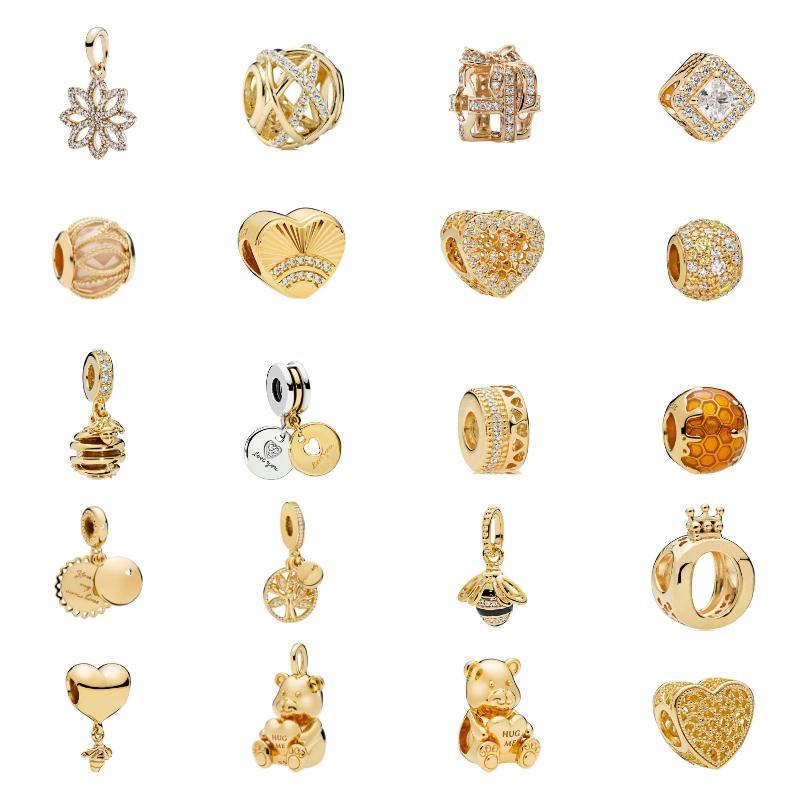925 Sterling Silber Luxus Gold Zirkon Frauen Schmuck Herz Bär Krone Blatt Windmühle Charme Perlen Fit Pandora Armband Anhänger Halskette DIY