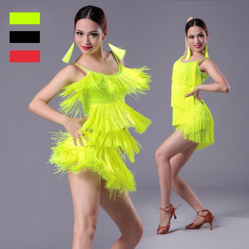 Filles Femmes moderne Ballroom Latin Dance Dress Tassel Fringe Salsa Tango Danse Costume Sexy Performance Rouge Noir Stage Porter
