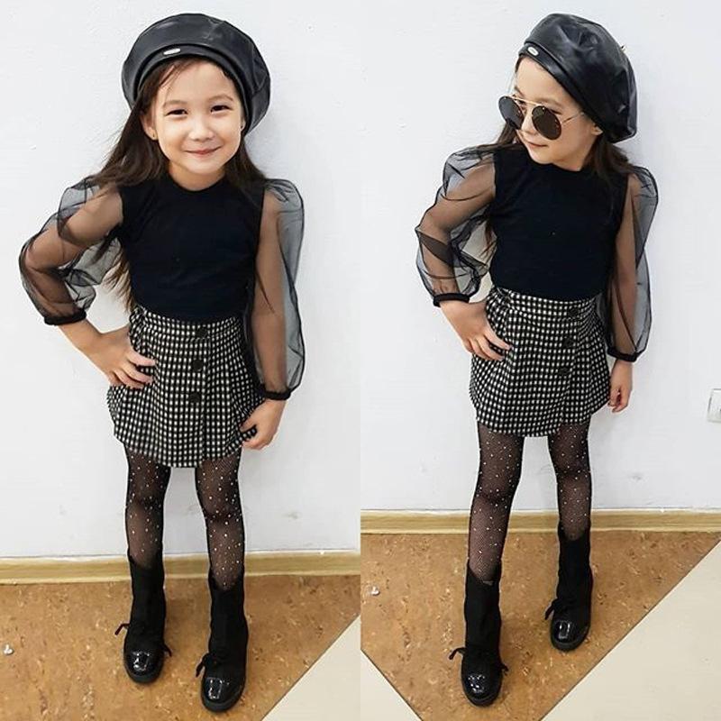 2-6y coreano moda ragazze ragazze vestiti lunghi maglia a maglia a maglia a maglia a maglia a maglietta + gonna a quadri 2pcs outfits set per i bambini TRACKSUIT C1031