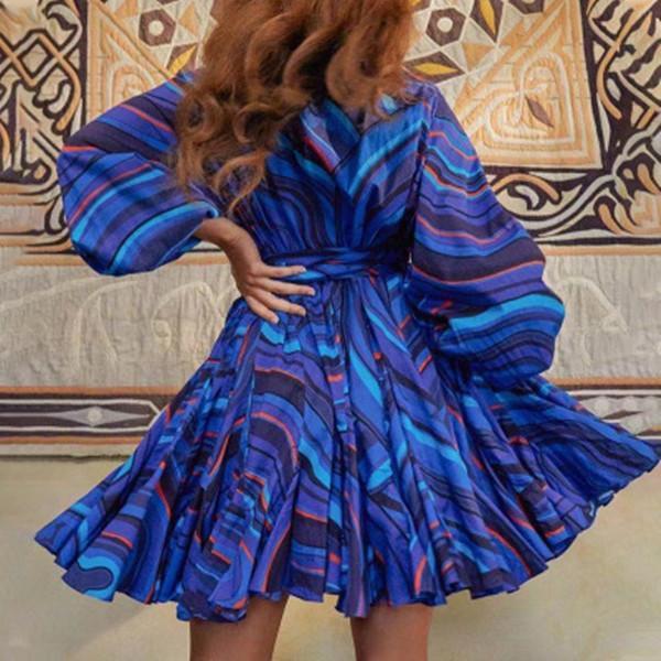 New fashion style elegant round neck lamp basket sleeves single-breasted design lace-up short shirt dress