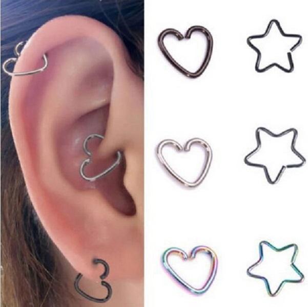 Trendy aço inoxidável corações estrelas nariz prego titanium aço lip orelha orelha cuff hélice cartilagem de cartilagem anéis de trago acessório de piercing