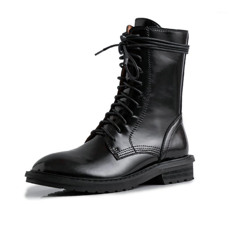SKLFGXZY black Riding boots Genuine leather Female boots lace-up Women's Autumn winter cowhide Women's shoes Size 34-401