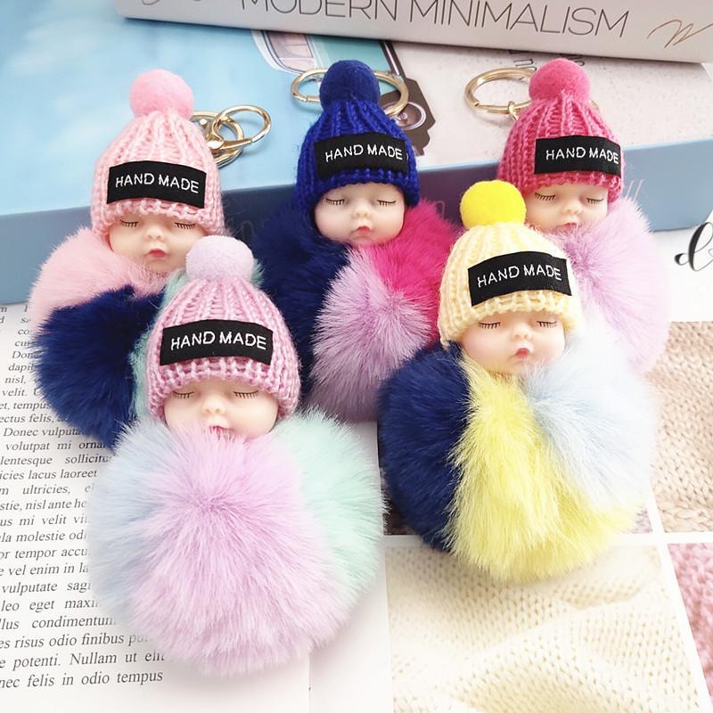 Dormir mignon Baby Doll Keychain coloré Pompom Boule Porte-clé Porte Porte-clés Sac Pendentif en peluche fourrure boule Porte-clés Faveur RRA3737