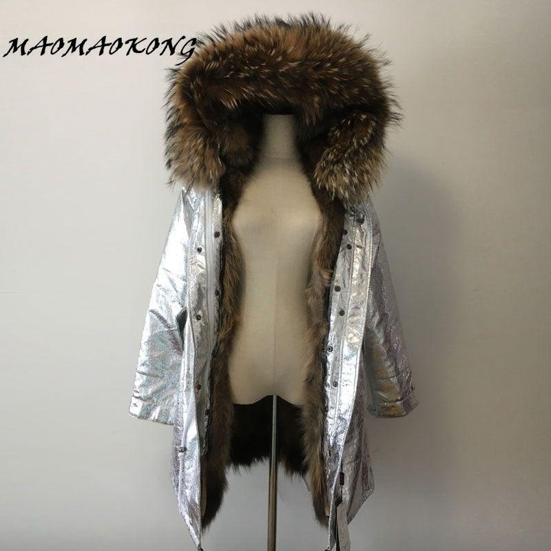 long winter jacket women outwear thick parkas raccoon natural real fur collar coat hooded warm genuine Raccoon Fur liner 201029