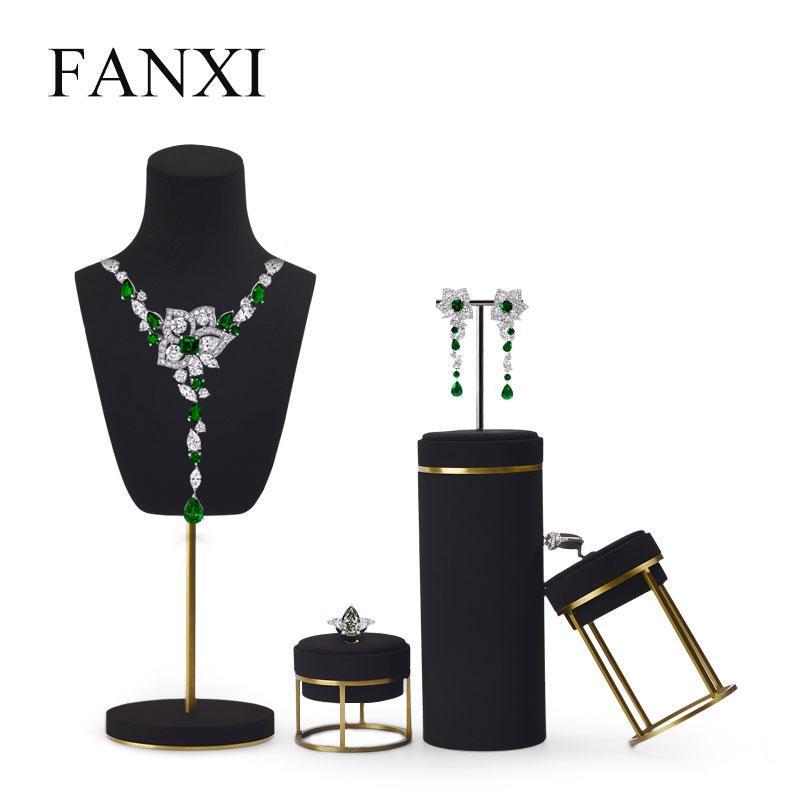 Oirv New Arrival Jewelry Display Collana in pelle Orecchino braccialetto del braccialetto del braccialetto con la base del metallo per il negozio di gioielli
