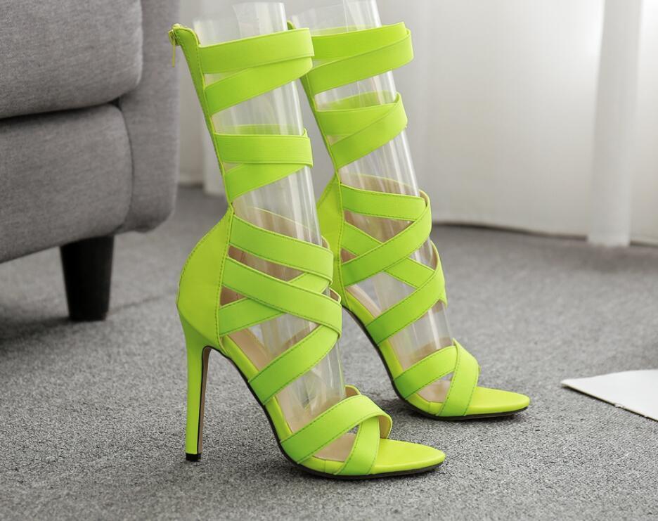 European-american shoes air sandal cross border 2021 summer zipper stretch cloth long barrel open toe thin heel high cool boots size 43 007