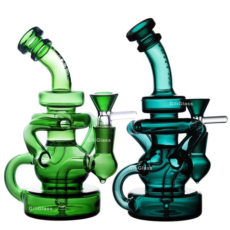 "Mini Recycler Glass Bong DAB con quarzo Banger 7 ""Bowl Oil Rig Bongs Bongs Cyclone Recycling Acqua Tubo d'acqua Infestazione Bongs Rigs Gear Tubi Somking"