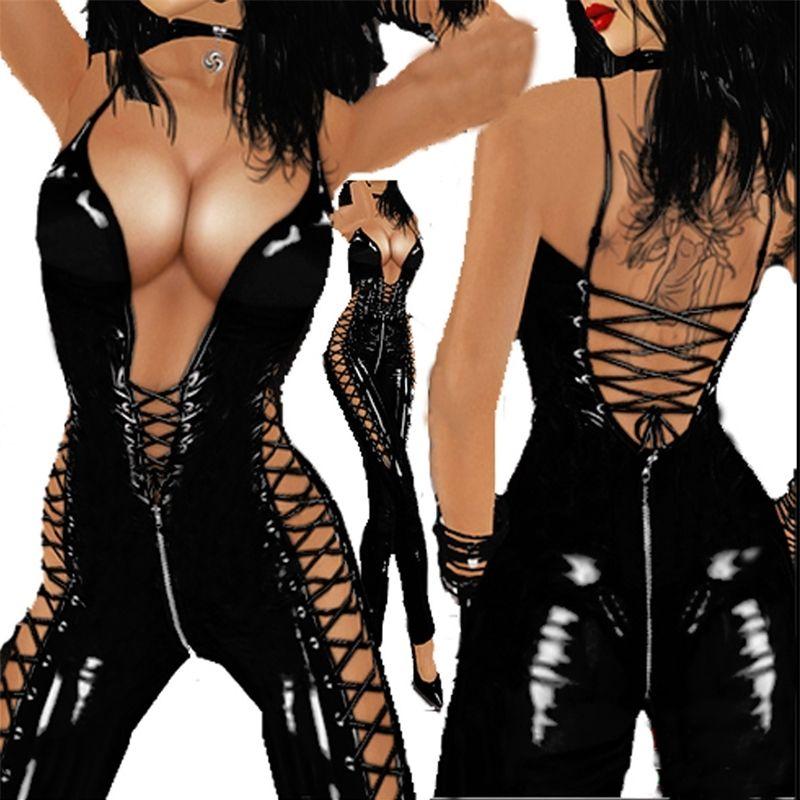 Erotik Seksi Açık Kasık Lateks Bodysuit Vücut Suit Kadınlar Için Seks Crotchless Backless Membesi Deri Lingerie Sexi