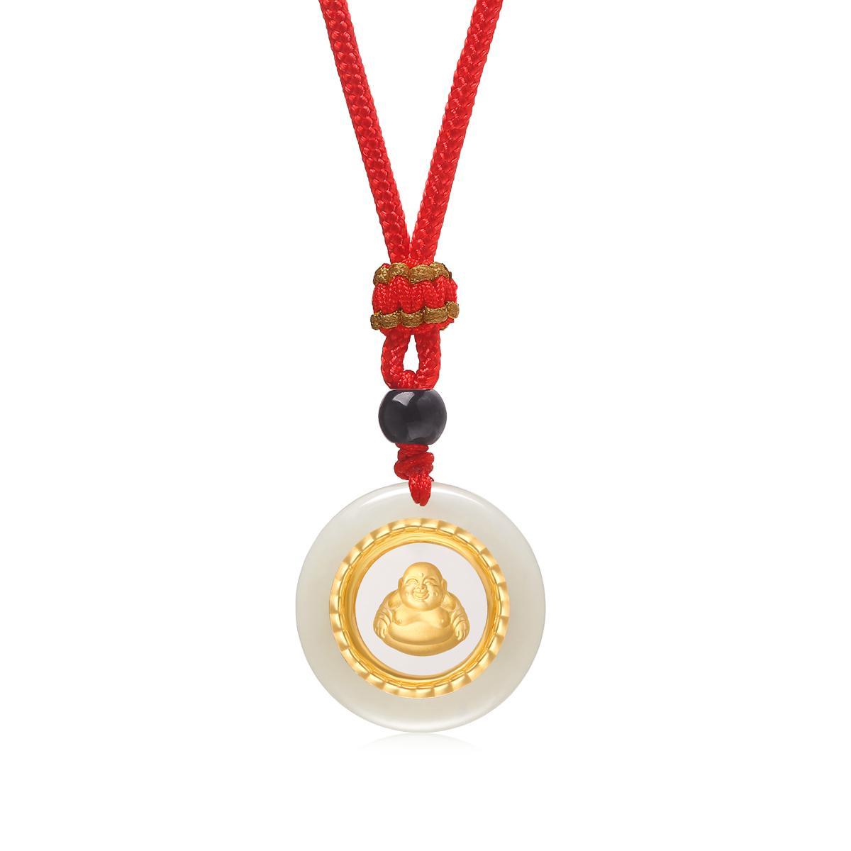 Novo estilo Pure 24K ouro colar de pingente Laughing Buddha Boa Sorte mascote Nephrite Homens Pendant Traga presente Paz 1023