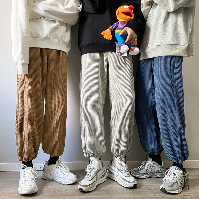 Privathinker Hombre Color Sólido Color Harem Straight Hombre Coreano Hombre suelto Corduroy Otoño Otoño Streetwear Masculino Pantalones Casuales F1225