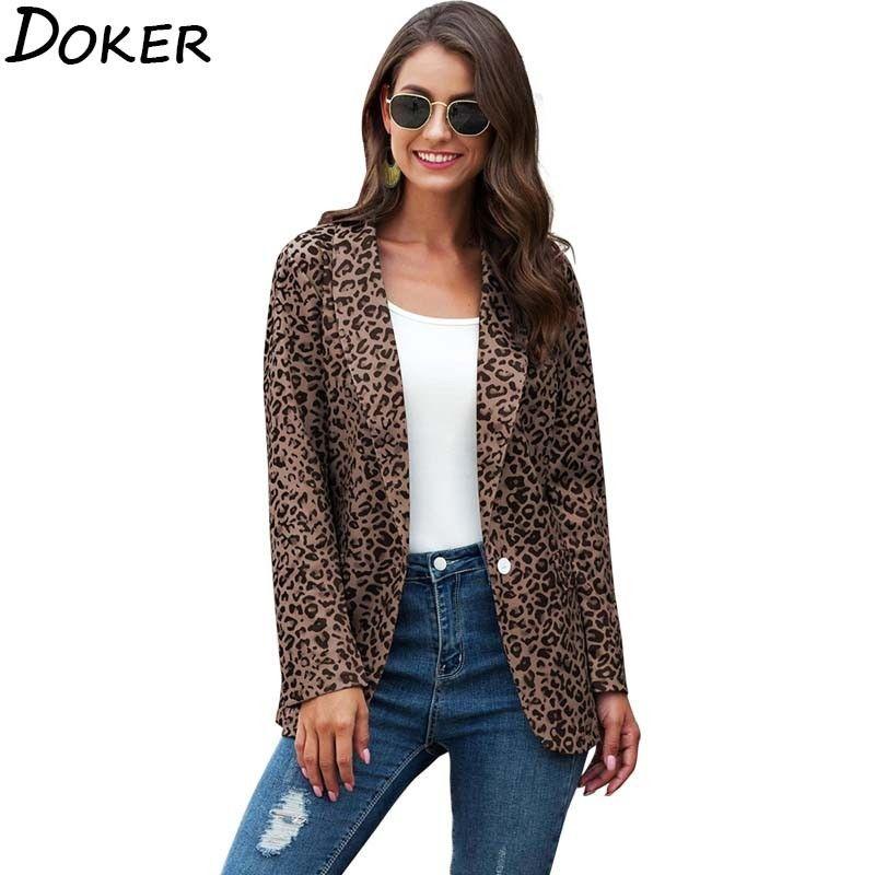 per il 2020 Autunno Inverno Leopard formale Office Lady manica lunga giacca sportiva del vestito delle donne del lavoro di usura Affari Giacca sportive casuali del cappotto