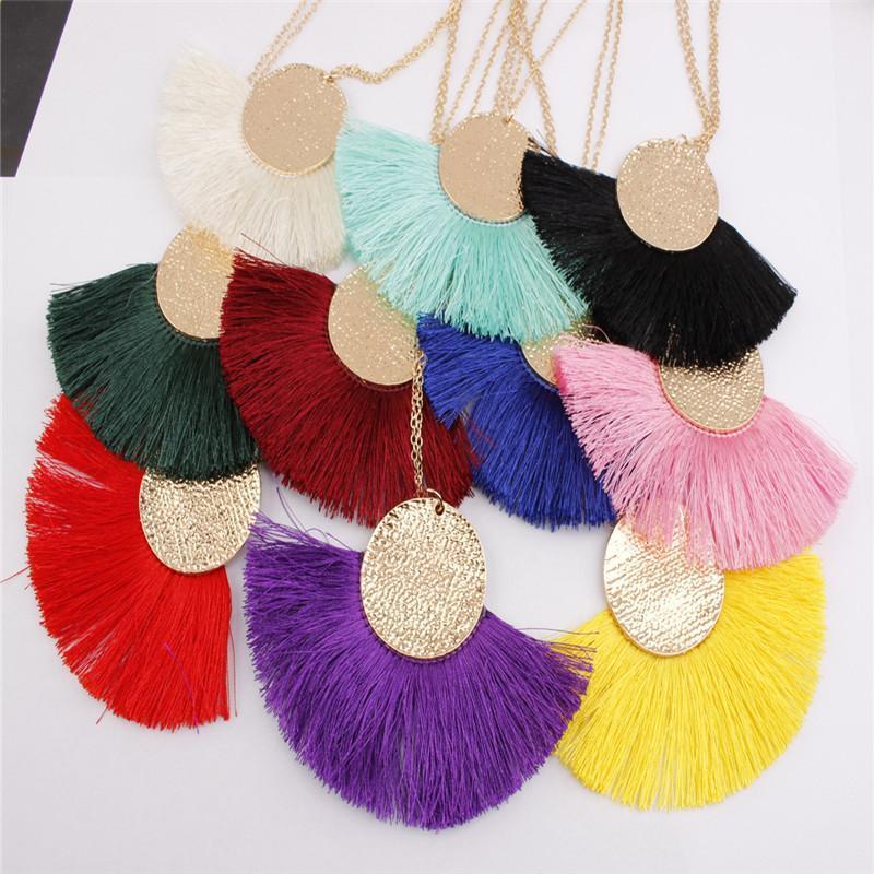 Nouveau collier simple pompon alliage Bohême bijoux dames de mode collier en forme d'éventail style ethnique nouveaux accessoires