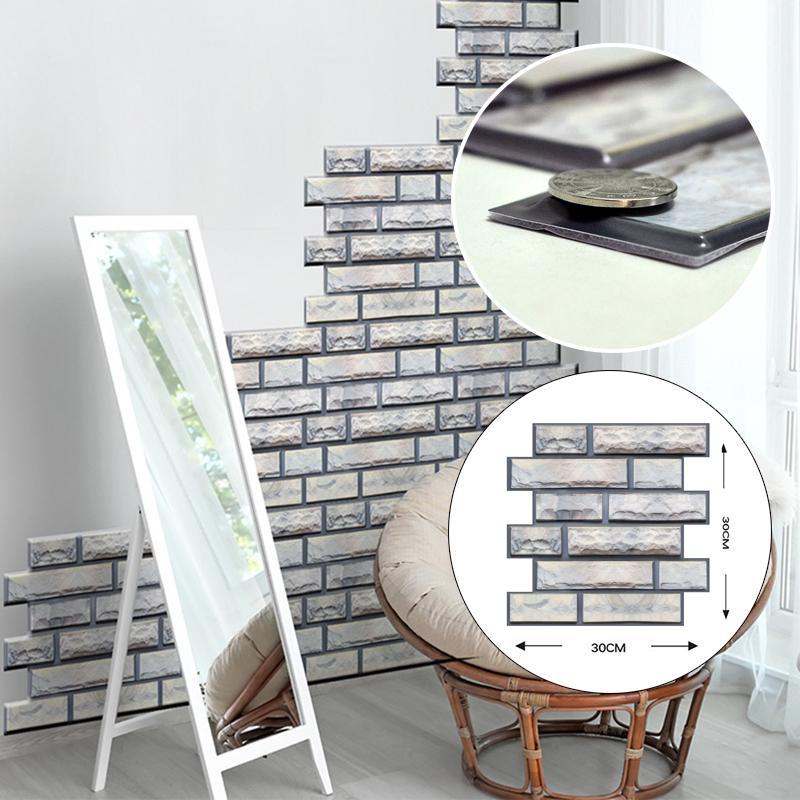Creativo 3D Imitazione Adesivi muro di mattoni ristorante ristorante wallpaper camera da letto camera da letto tv wall background decorazione autoadesiva PVC 30x30cm
