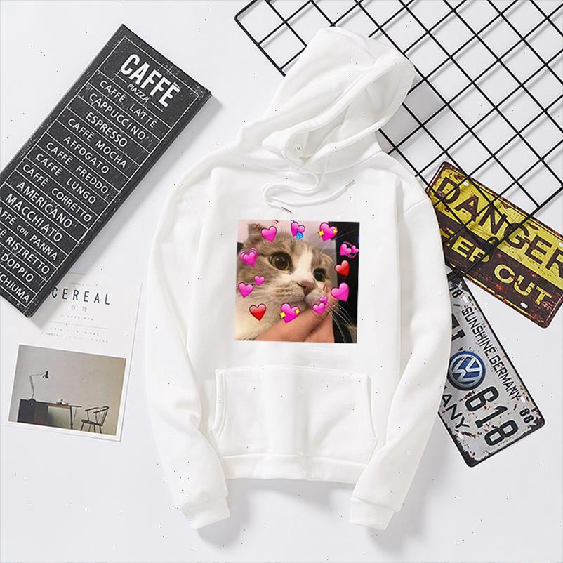 Women White With hood Hoodies lovely kitten Print Women Oversized Sweatshirts Womens Gown Long Sleeve Female Clothes Tops