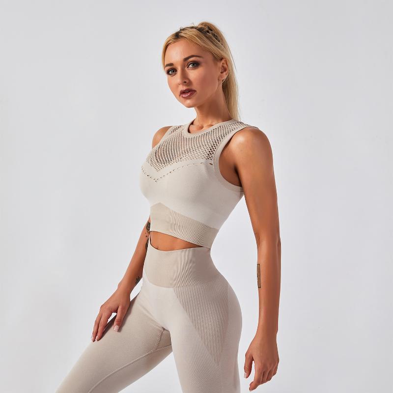Yoga Outfits 2021 женская мода бюстгальтер жилет леггинсы спортивный костюм фитнес одежда сексуальный полый ударопрочный комплект тренажерный зал одежда