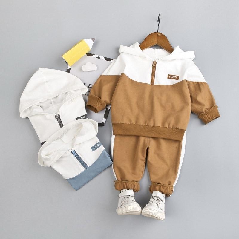 Nova primavera e outono fatos infantis meninos e meninas Bebê costurando cor com capuz manga comprida moletom + calças 2 pcs terno 201277