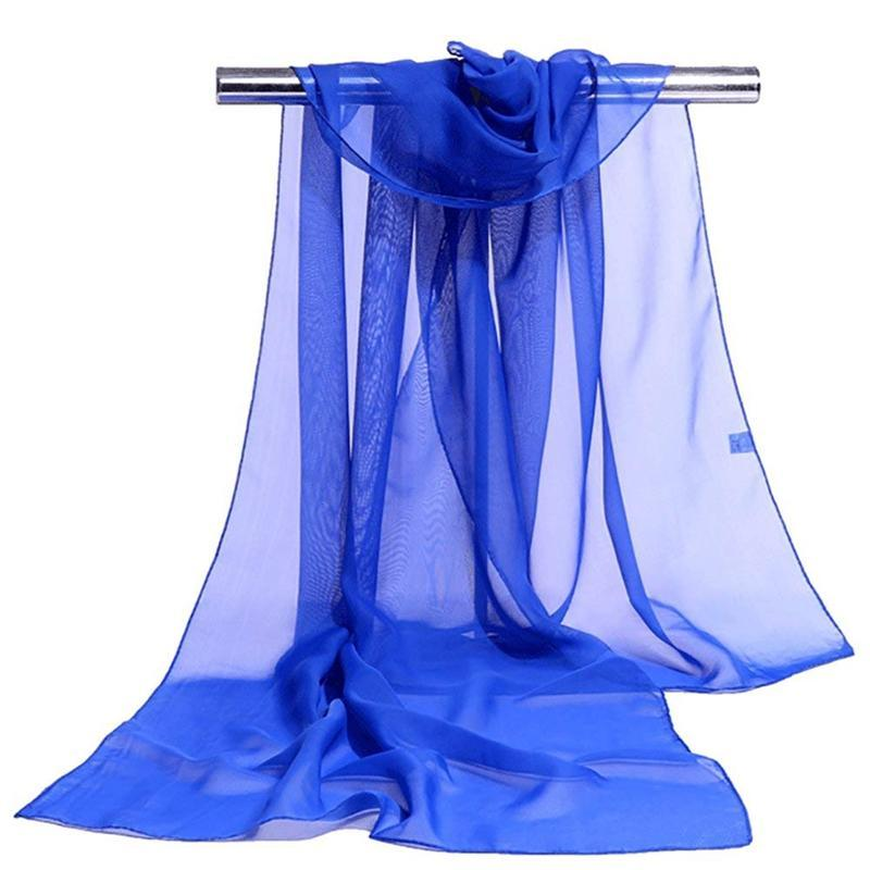 Women's Scarf Long Solid Color Chiffon Shawl Wrap Scarves Beach Soft Sun Protection Dark Blue