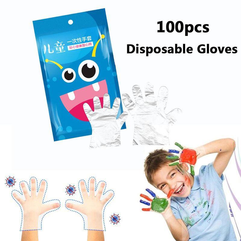 100Pcs / Çanta Şeffaf Tek kullanımlık eldiven Bulaşık Kitchen Restaurant Bahçe İçin Çocuk Çocuk Plastik barbekü Gıda Eldiven Boyama