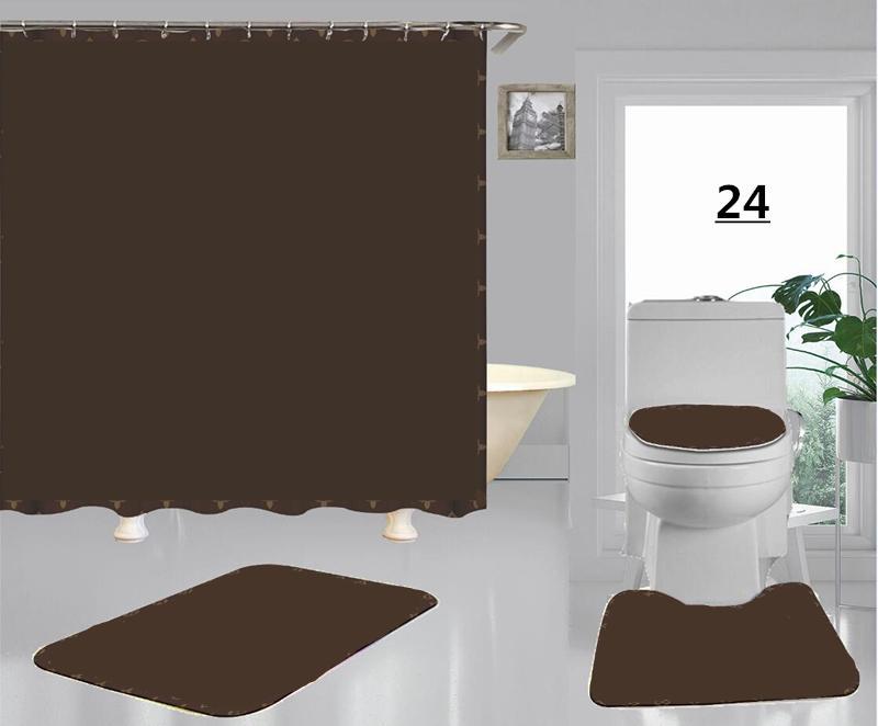 Nueva llegada impermeable patrón clásico marrón flores de ducha cortina suave tela asiento asiento cojín cortinas de baño para la decoración del hogar