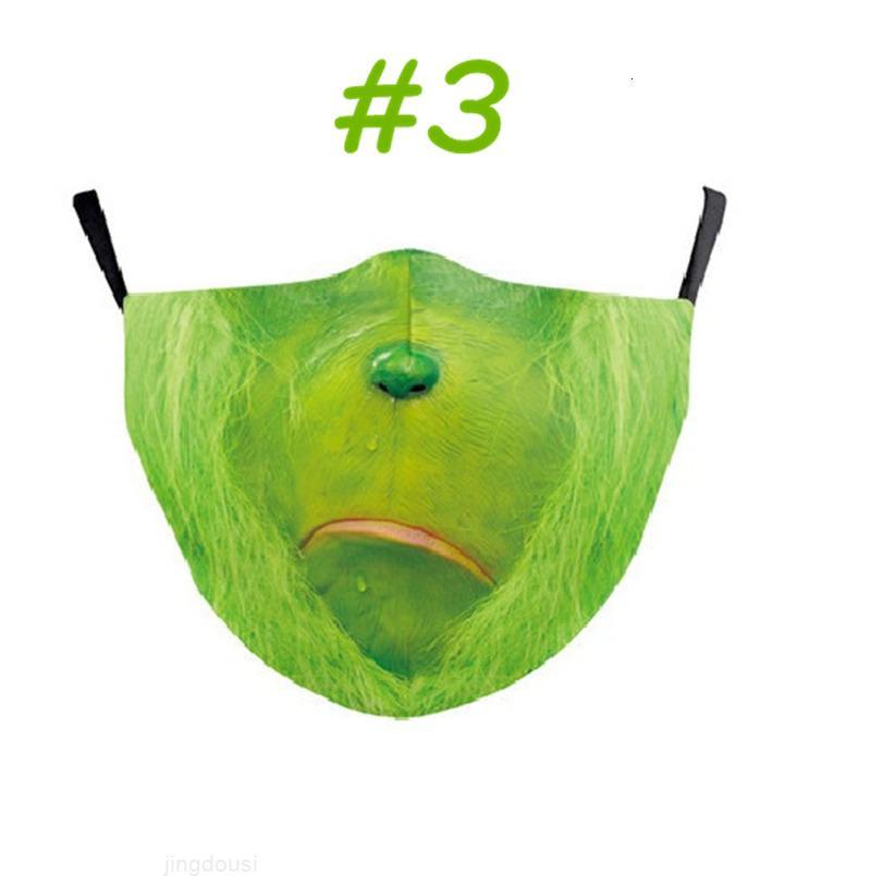 Design Top version Grinch Sole de Noël Impression 3D Cosplay Nouveau masque de visage réutilisable Lavable anti-poussière anti-poussière mignon masque de visage freemnn
