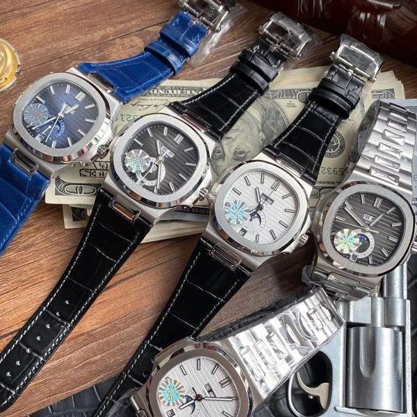 عالية الجودة الساعات صنوتيلوس 5726 جلدية التلقائية الميكانيكية الرجال ووتش المرحلة القمر شهر الأشرطة جميع وظائف patek philippe 9PSm العمل #