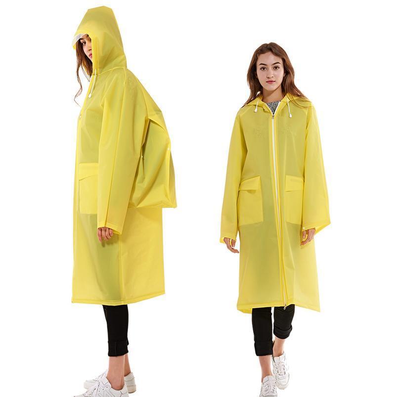 Cuatro colores de alta calidad impermeable plástico EVA cremallera largos hombres mujeres impermeable capucha con capucha mochila bolsillo Rainwe Jlldpe