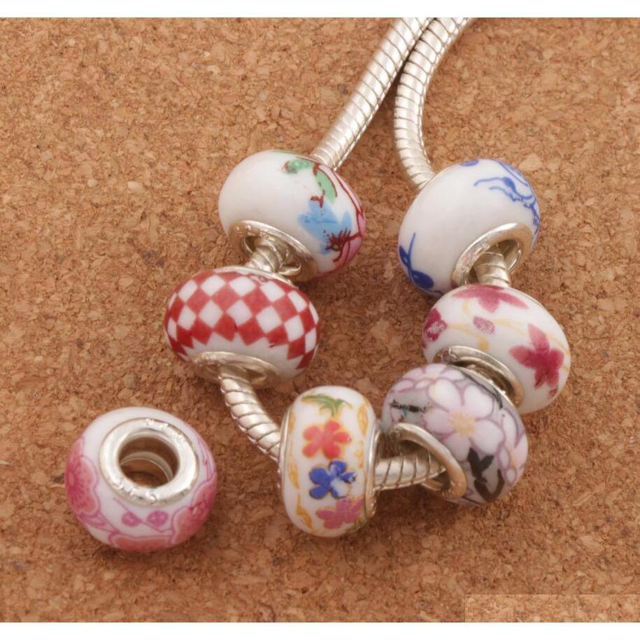 925 Céramique de porcelaine à la main en céramique à la main en argent 925 Perles 60pcs / lot Mélanger 14x9mm Fit Charmes Européen Bracelets Bijoux DIY MBHII