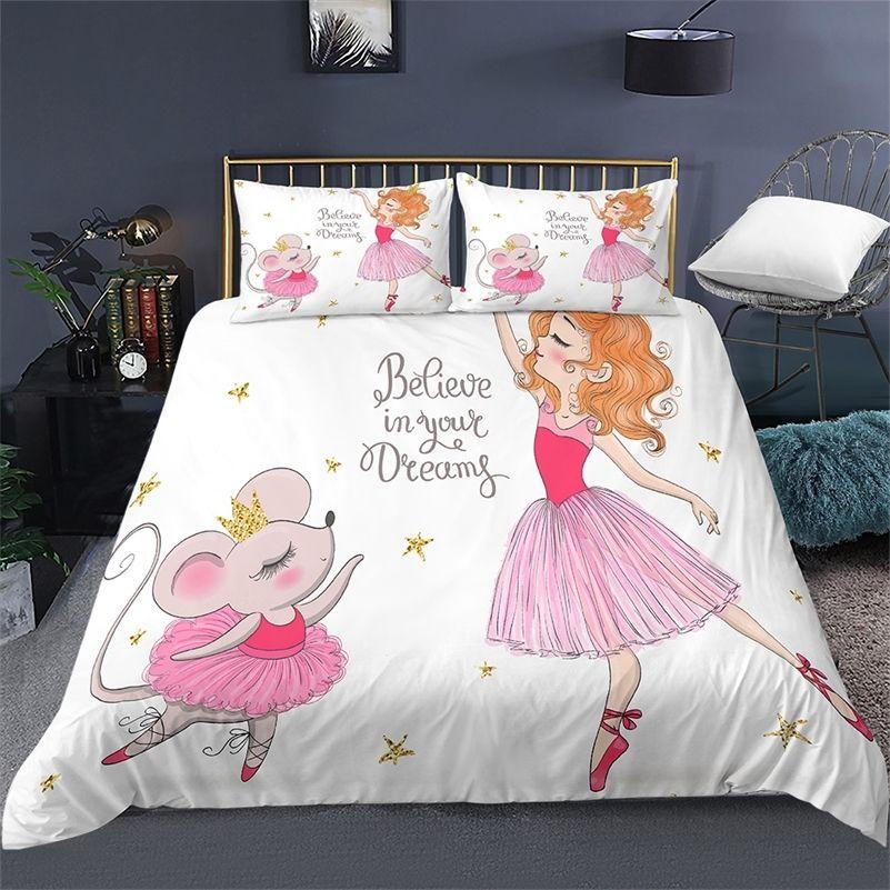 Мультфильм постельное белье для детских детей Детей детская кроватка одеяла набор наволочки Edredones Nios Girls Princess одеяло одеяло одеяло LJ201127