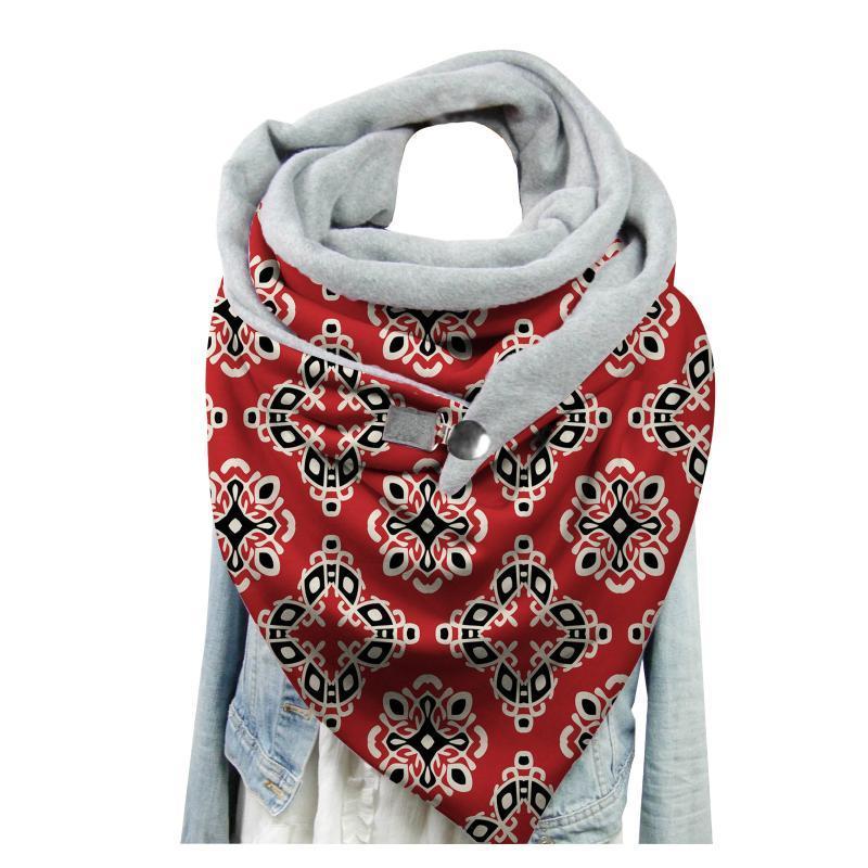 De lujo de las mujeres del botón de impresión de Paisley manera de la bufanda de Chritmas multiusos de la bufanda del mantón caliente Casual mantón echarpe hiver femme QE