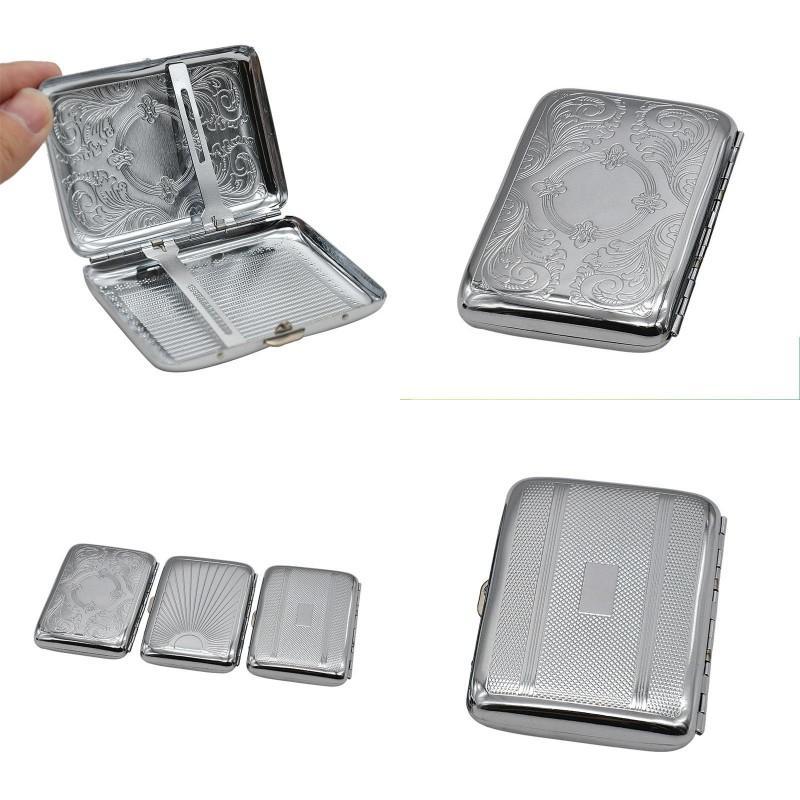 Metall Retro Zigarettenetui silbrig vernickelt Spiegelung Deckel öffnen Container Strong Rectangle Hüllen Rauchen Tragbarer 5 5XB G2