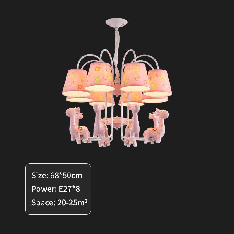 2021 New Moderno Led Lustre Pink Giraffe Pendant Lamp Nursery Children Decoration of Their House Light 1641