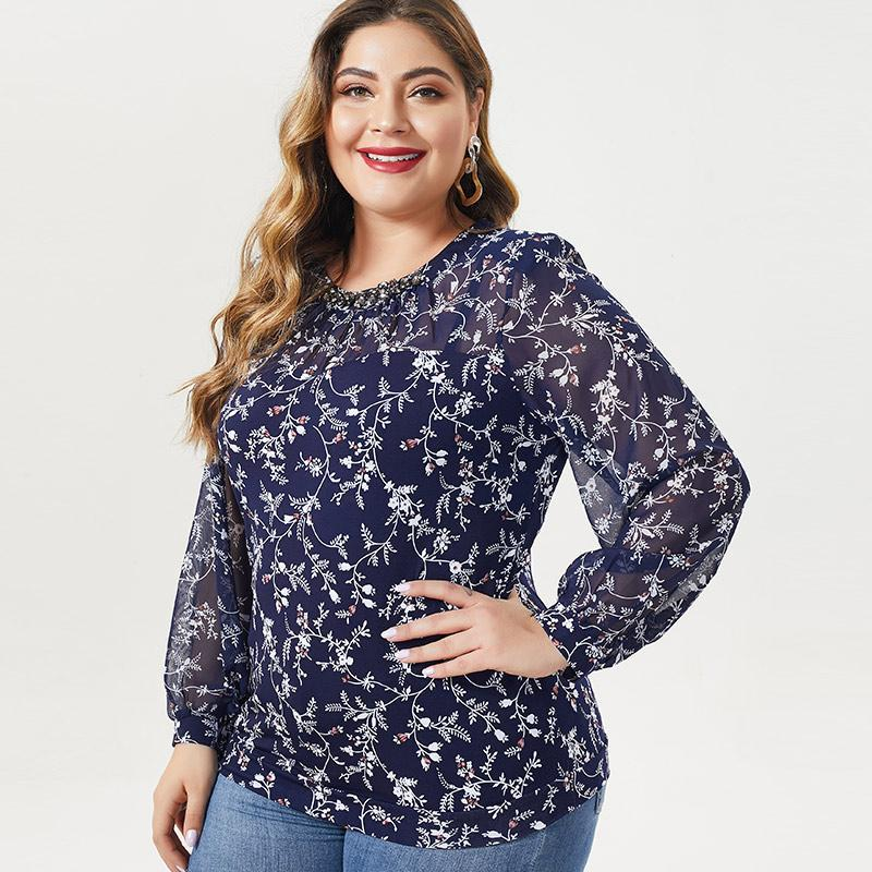 2020 Осень MOM с длинным рукавом кутюр Printed цветок футболки Vintage элегантный плюс размер женщин шифоновые топы