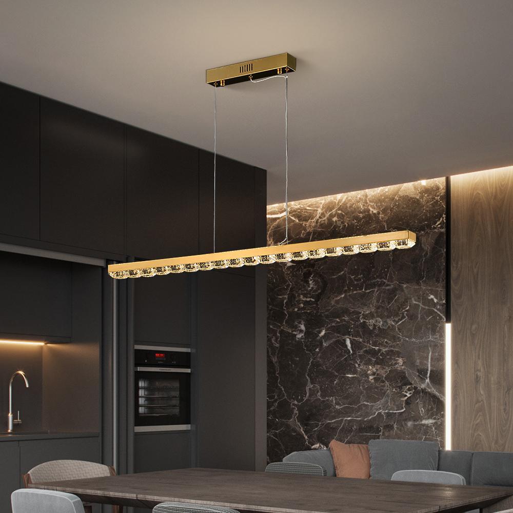 cristal moderne lustre conduit pour salle à manger nouvelle pendaison fil de suspension d'arrivée lampes luminaire en acier inoxydable d'or