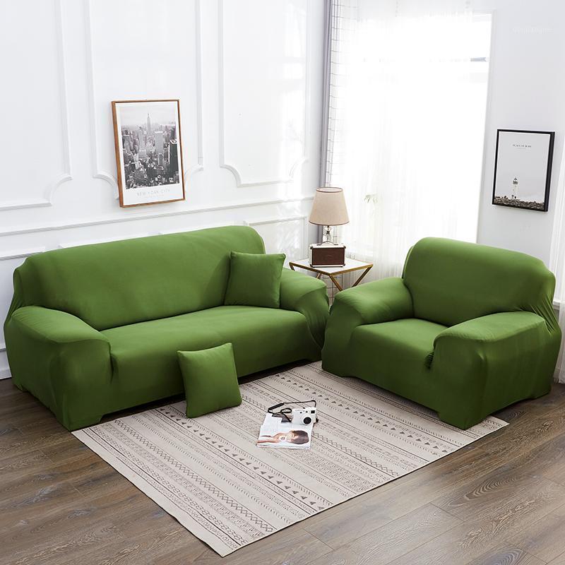Сплошной цвет плюшевой утолщения упругого дивана для дивана Универсальный секционные яблоки 1/2/3/4 Seater Cound Cound Cound для гостиной1