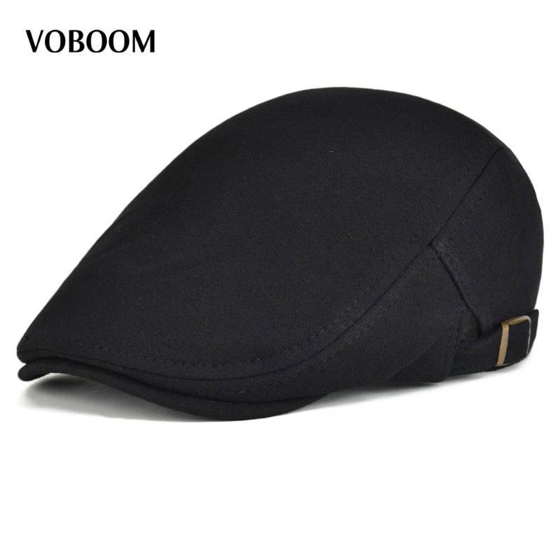 Sboy Hats Cotton Men Women Black Flat Ivy Cap Soft Solid Color Driving Cabbie Hat Adjustable Caps 039
