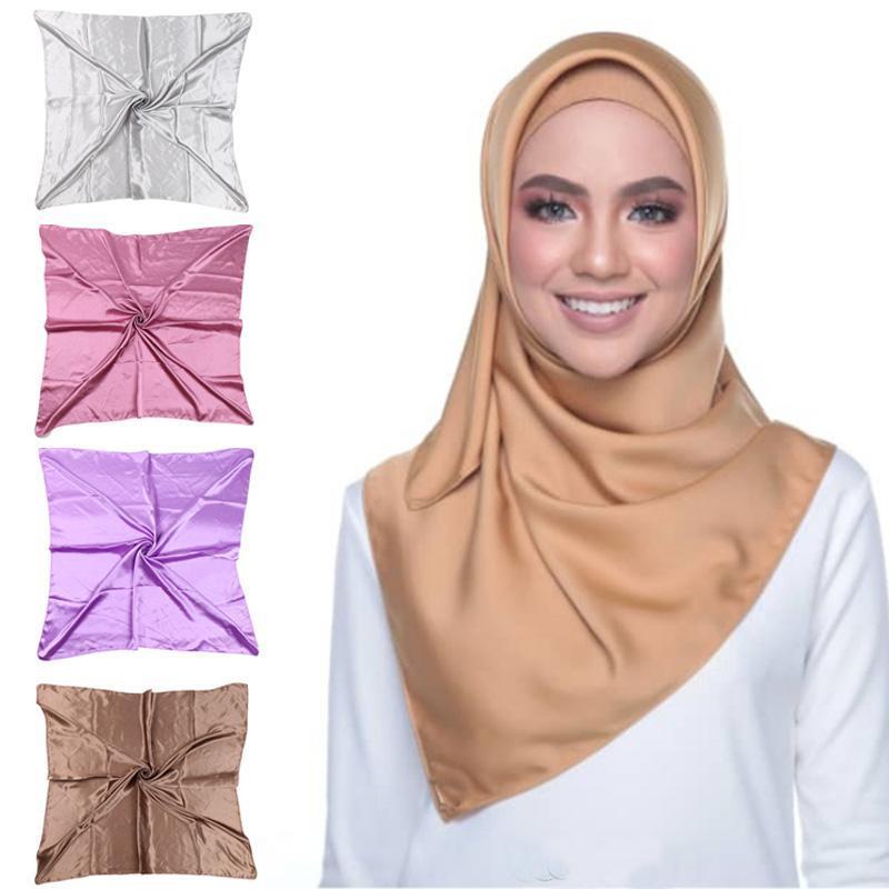 19 colori 90 * 90 cm Donne Quadrato Musulmano Hijab Silk Satin Sciarpa Sciarpa Bandana Sciarpa Testa involucro Scialle islamica
