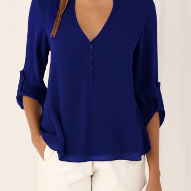 Jbersee летние женщины повседневный тонкий сексуальный с длинным рукавом шифоновая блузка женская одежда леди рубашки топы Blusas плюс размер S-5XL 201201
