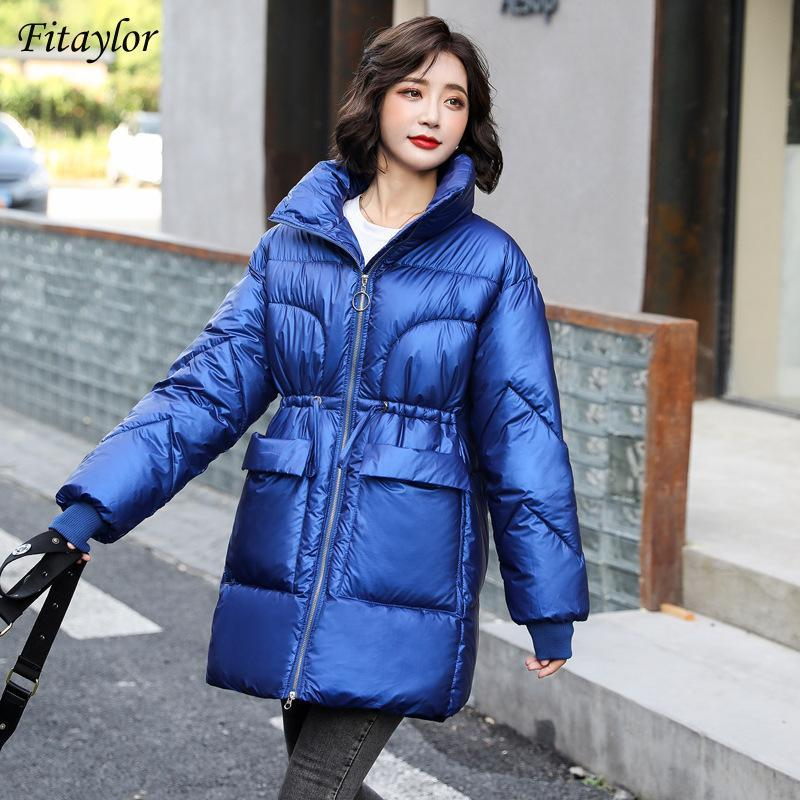 FitAylor 2020 Winter Women Stand Soport Zipper Slim White Cotton Coat Streetwear Streetweight Warm Snow Chaqueta Gran Bolsillo Outwear