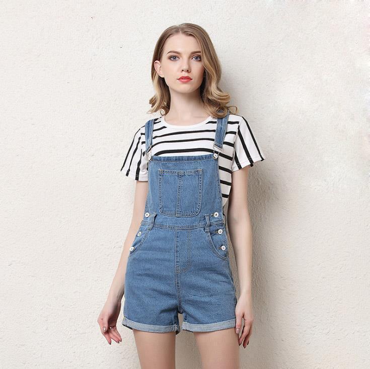 New Girls court Denim Jumpsuit Romper Femmes Printemps Eté Salopette Jeans Casual court Combinaions Taille Plus S-4XL