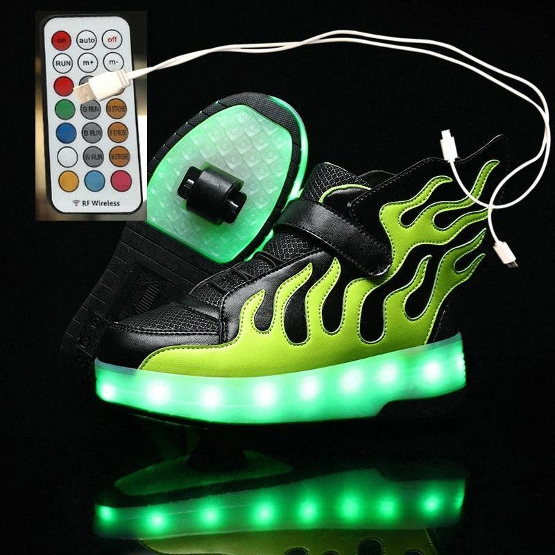 Pink 2021 новый USB зарядки детей кроссовки дистанционного управления девочек мальчики светодиодные туфли детские кроссовки с колесами роликовые коньки обувь # M96U